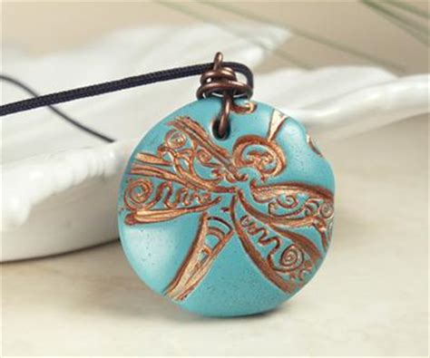 how to make clay pendants for jewelry turquoise dragonfly polymer clay pendant with copper wire