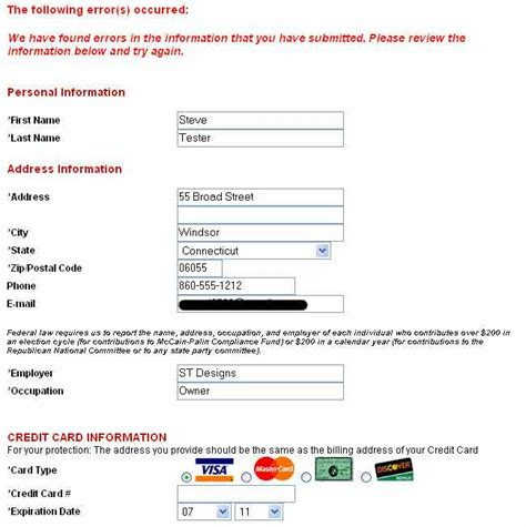 Credit Card Information Form Updated Testing Mccain And Obama Web Credit Card Fraud Radio Vice