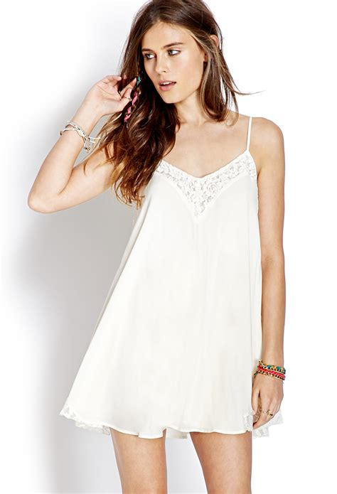 Slop Dress lyst forever 21 lace trim slip dress in white