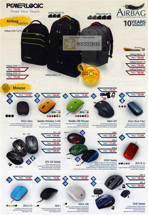 Mouse Powerlogic 2go Zero Flex leapfrog powerlogic bags airbag 3on metro transit mouse