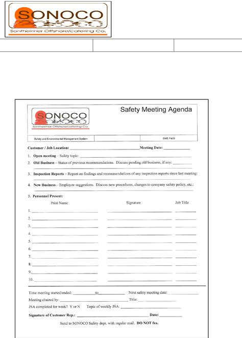 download safety meeting agenda form sle for free page