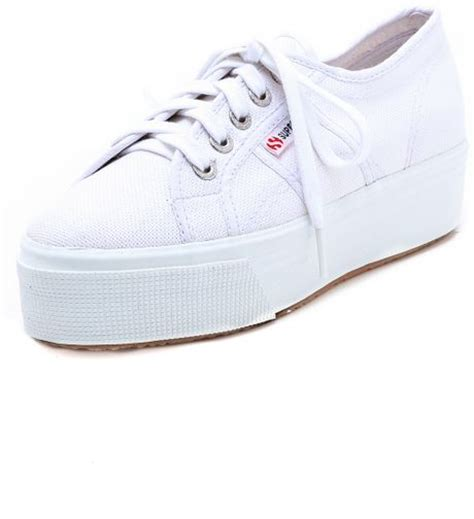 superga white platform sneakers superga linea platform sneakers in white lyst