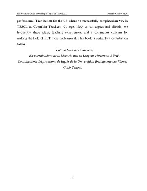 Guide To Writing A Thesis The Ultimate Guide To Writing A Thesis In Tesol Al
