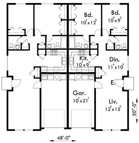 Duplex Plans Narrow Lot by Floor Plan For D 449 Duplex House Plans One Story