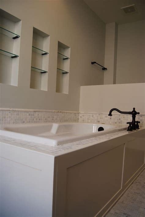 bathroom tile filler master bath custom designed and built tub panel white