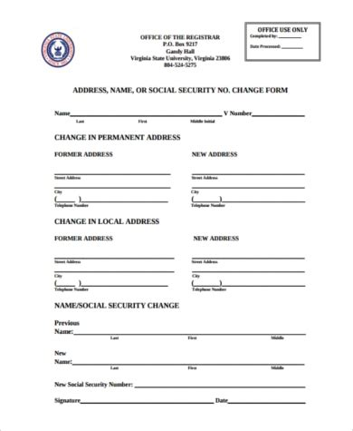 sle social security name change form 8 free