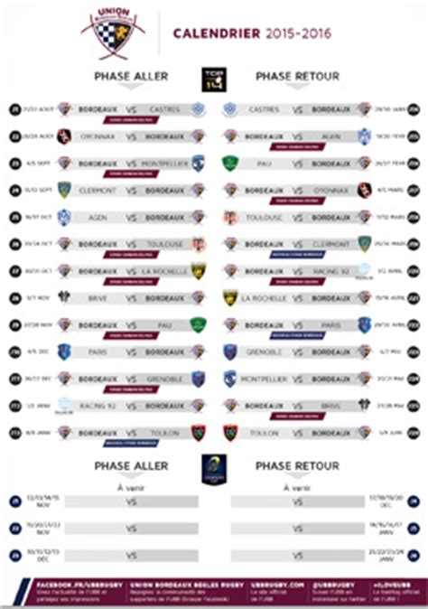 Calendrier H Cup Rugby 2015 Le Calendrier Top 14 2015 2016 Actualit 233 S Union