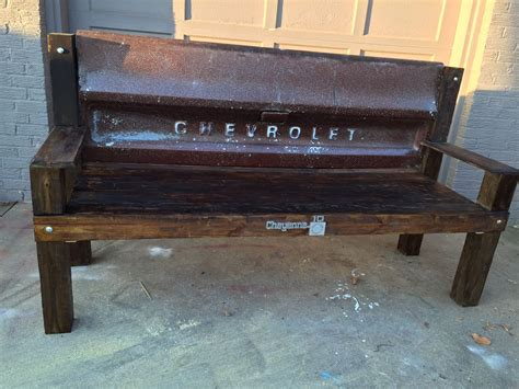 bench made from tailgate buy a handmade chevy tailgate bench made to order from