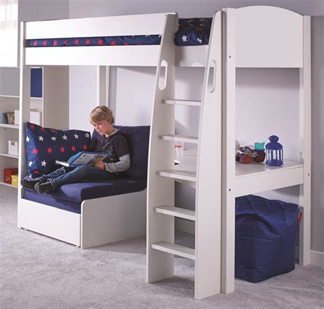 Stompa High Sleeper With Desk And Futon by Stompa Uno S5 Highsleeper Rainbow Wood