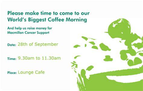 Macmillan Coffee Morning Coffee Morning Invitations Templates