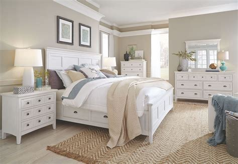heron cove chalk white storage panel bedroom set  magnussen home coleman furniture