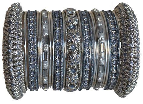Bangles India Size L 24 indian bridal wedding gift bangles set grey silver size 2