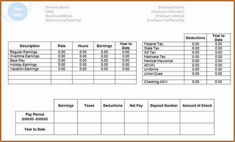 6 Pay Stub Template Microsoft Office Simple Salary Slip Microsoft Payroll Template