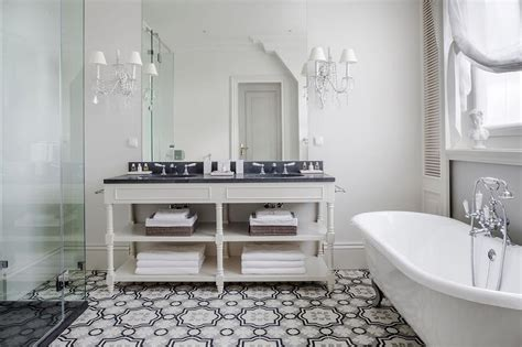 Cheap Shabby Chic Home Decor cream and gray moroccan floor tiles transitional bathroom