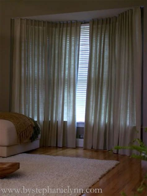 curtains on bay window make your own bay window curtain rod window treatments
