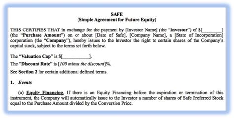 Simple Agreement For Future Equity Template Convertible Equity A New Hope Wolverine Startup Law