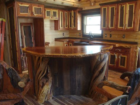redwood bar top log home kitchens the unique wood counter tops crafted