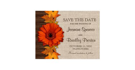 rustic fall wedding save the date templates postcard zazzle