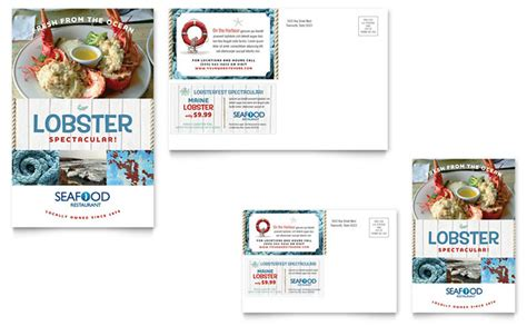 postcard advertising template seafood restaurant postcard template design