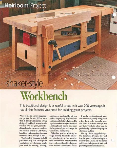 shaker bench plans shaker workbench plans woodarchivist