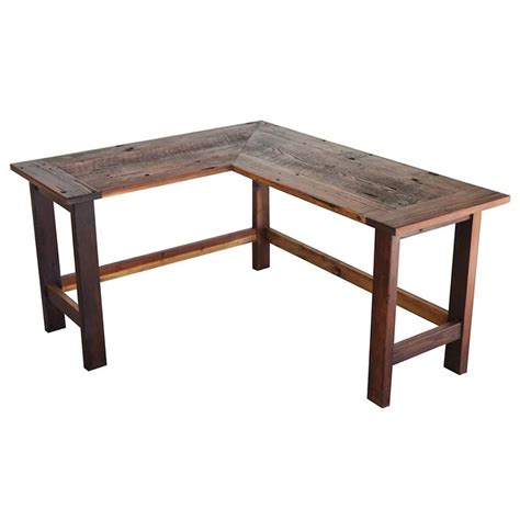 reclaimed wood l shaped desk this is a reclaimed barnwood l shaped desk that has been