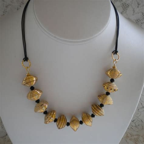 Jewellery Using Paper - gold paper bead necklace paper and jewelry