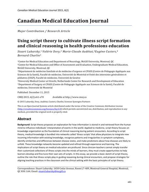 Pdf Using Script Theory To Cultivate Illness Script