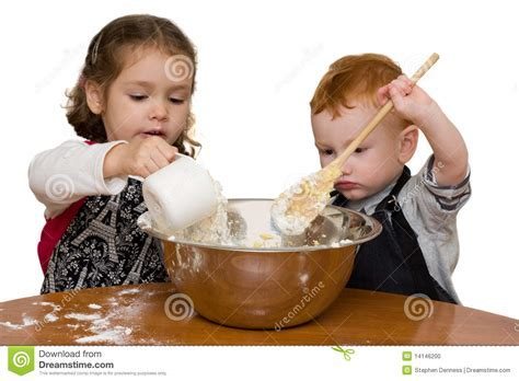 Kids Measuring And Mixing In Kitchen Stock Photo   Image