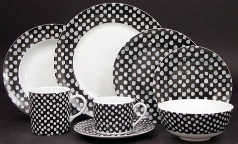 black and white pattern dishes pickard china kelly wearstler dots white on black tea