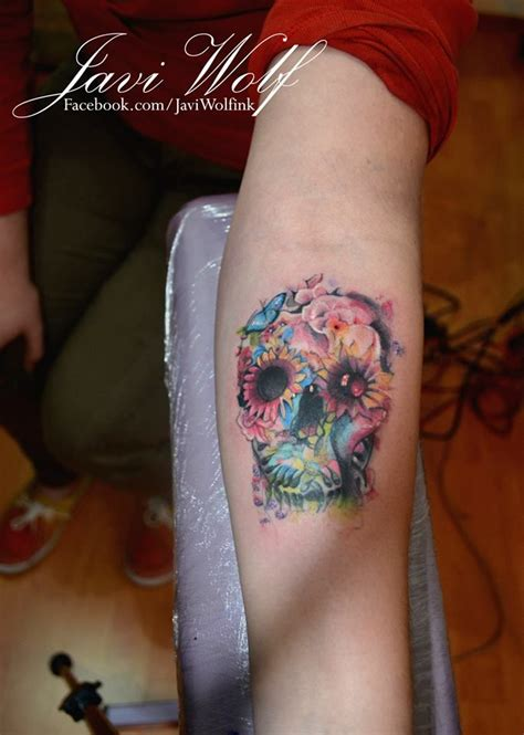 watercolor tattoo javi wolf flower skull tattooed by javi wolf my work