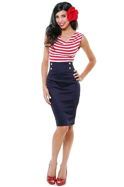 best pin up 60s pinup striped hello sailor nautical wiggle dress