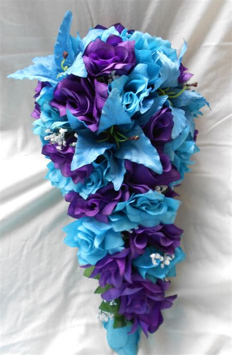 Läuse Bei Orchideen 3723 by Purple And Turquoise Blue Cascade Wedding Bouquet Lilies And