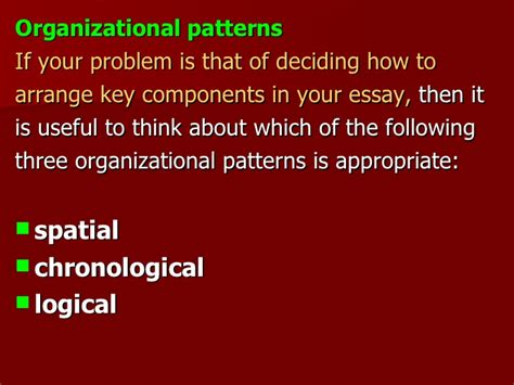 logical organizational pattern how to organize the body of an essay
