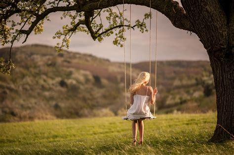 girl in swing girl swing nature hd wallpaper