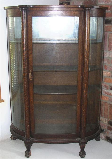 antique bow front oak china cabinet claw curved glass