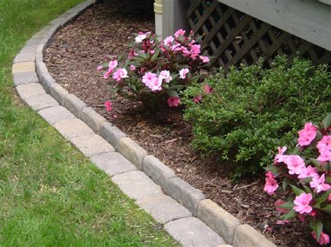 stone flower bed border edging a flower bed with cement pavers infobarrel