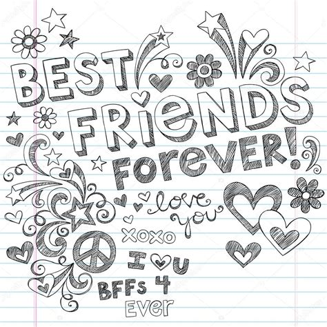 Modèle De Lettre Inscription école Privée Best Friends Forever Bff Back To School Sketchy Doodles Vector Stock Vector 169 Blue67 11800091