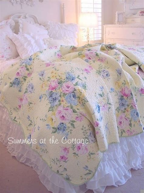 cottage chic summer yellow pink roses blue flowers full queen quilt set cottage chic summer