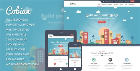 bootstrap themes free flat cobian flat bootstrap landing page by 99webpage themeforest