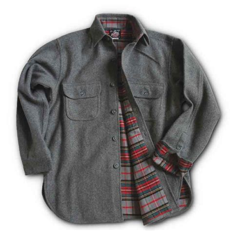 Johnson Mills   Flannel Lined Wool Button Down Shirt