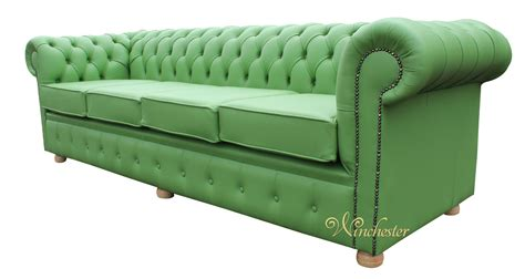 green settee chesterfield 4 seater settee apple green leather sofa offer