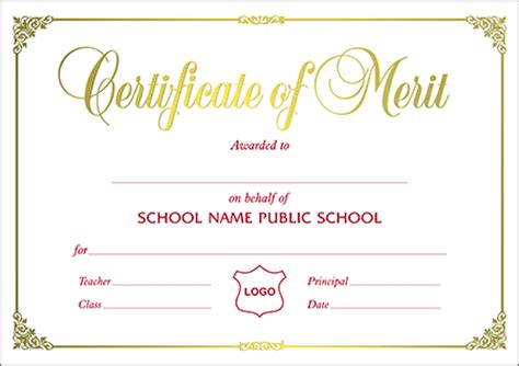 design a certificate of merit certificates a4 size certificate of merit landscape a4