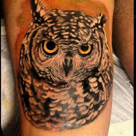owl eyes tattoo owl with yellow