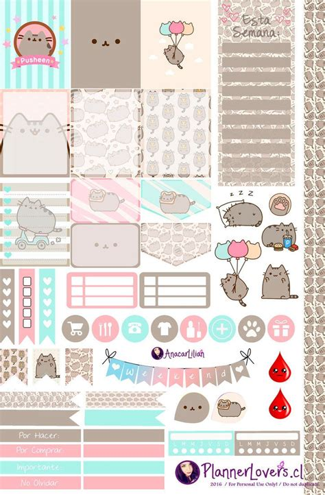 free printable planner art pusheen free printable stickers by anacarlilian