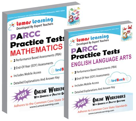parcc test prep 8th grade math practice workbook and length assessments parcc study guide books parcc assessment resources lumos learning