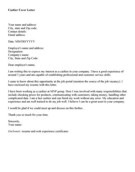 Experience Letter For Cashier Cover Letter For Cashier With Experience 272