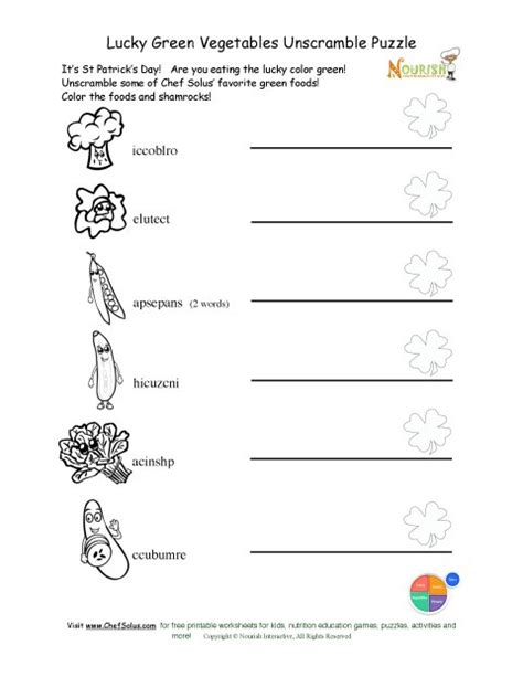 St Grade Holiday Crafts - holiday 4 unscramble green vegetables coloring and worksheet