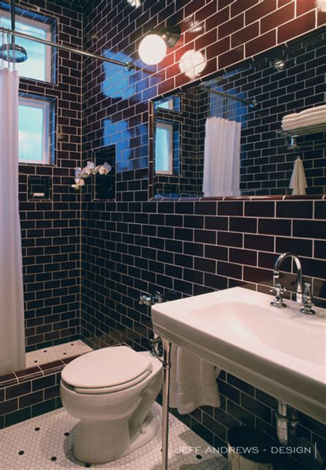 brown subway tile bathroom dark brown subway tiles contemporary bathroom jeff