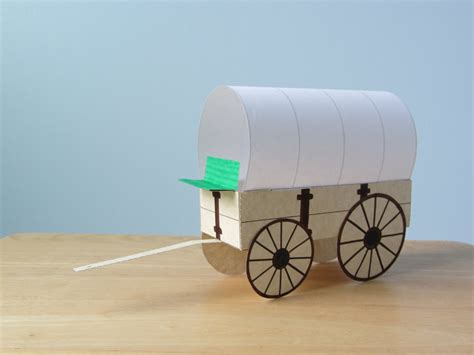 How To Make A Paper Wagon - 3d covered wagon instant template