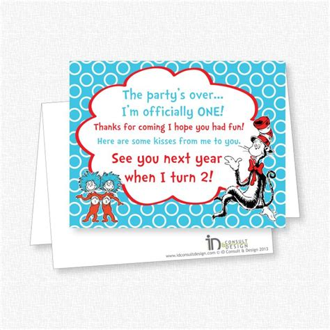Dr Seuss Birthday Cards Dr Seuss Birthday Party Thank You Note Card Printable
